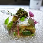 リストランテ ドゥエ フィオーリ - 初夏野菜の揚げ浸しジュレ キャビア 紋甲イカ 酢橘