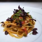 リストランテ ドゥエ フィオーリ - 泉州産水茄子とアジのスパゲッティ プッタネスカ