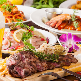 自慢のカジュアル料理の1番人気エイジングビーフステーキコース