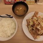 松屋 - (2016.7) スタミナ肉野菜炒め(ライス大盛りサービス)630円
