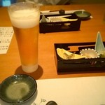 寿司割烹 豊 - 生ビールと突きだし