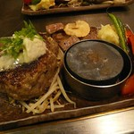 きゅうろく鉄板焼屋 香里園 - お好きなハンバーグ+サイコロハーフの『きゅうろくコンボ』¥1,500(税込1,620)
