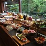 53312670 - 生野菜・ドレッシング・サラダのトッピング、その奥には魅力的な小鉢料理が