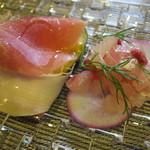 イタリアンレストラン Zucca - 生ハム水茄子、コショウダイ