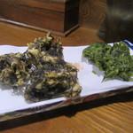 みつ子ばぁばの台所 - 「もずくとアーサーの天ぷら盛り合わせ」(¥580)