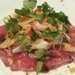 キッチン雨月 - 料理写真:長崎産ヤイトカツオと香味野菜のカルパッチョ(880円)