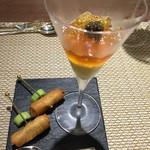 ル モマン - 鮎の包み揚げと鮎のコンソメジュレのムースにキャビアを添えて