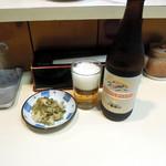 とりかつ チキン - ビール500円と無料の漬物