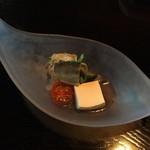 囲炉里庵 花水木 - 酢物:鮎 蓮根 豆乳チーズ豆腐