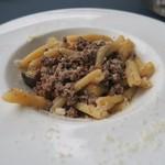アロマクラシコ - カサレッチェ 牛ひき肉のスパイス煮込みと赤茄子のソース
