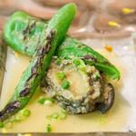 レストラン ヒロミチ - 魚メイン料理です。北海道の蝦夷アワビとアマナがピーマン。アワビが柔らかくてスープも美味しかった!