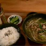 ジル カフェプラスバー - 飛騨牛肉汁・白米・漬物付き:930円