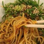 明昌飯店 - 汁無し坦々麺(麺リフトアップ)