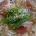 53377741 - マッシュルームたっぷり                       生ハムとパルメジャーノチーズのピッツア(ハーフ)