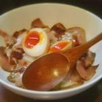 中華蕎麦 葛 - ローストポーク丼(小)ヨーグルト味のソースは賛否あるだろうね、、、僕?否の方ね。。。