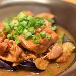 はまきん - ホルモンと茄子の土手煮(お通し)