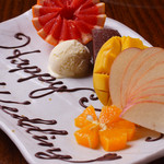 名物鉄板地鶏焼き 渋谷 鶏ます - お誕生日・記念日のプレート