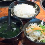 焼肉 けっさく - 2016.7 限定石焼ステーキランチ(999円)サラダ、ライス、スープ
