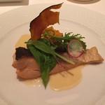 53433024 - 時鮭ポワレ、枝豆とカボチャのフラン添え ブールブランソース