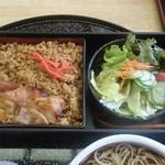 町田や - 鳥の照り焼きとそぼろご飯・サラダ