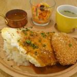 EGG & SPUMA - チキンクリームコロッケ オムリゾット(鶏グラスソース)