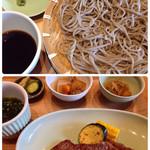 五萬石 - 黒毛薩摩牛ステーキ御膳 (白ご飯付き)                                               この日のお蕎麦は宮崎産