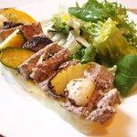 Aux Gourmands - <'16/07/12撮影>オープンサンド 1000円 の豚肉パテと野菜のオープンサンド