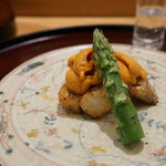 日本料理 太月 - ホタテ、うに、あすぱら