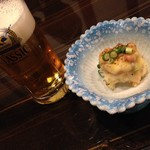 日本酒×和創作料理 香酒 鞘 - 先付:新ジャガとたこ塩辛のチーズ焼きとサッポロクラシック