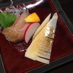 日本酒×和創作料理 香酒 鞘 - 刺身:旬竹の子と白身魚の和風カルパッチョ