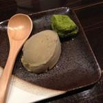 日本酒×和創作料理 香酒 鞘 - 甘味:ほうじ茶アイスと抹茶わらび餅