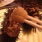 栄丸民宿 - 採れたての生ウニは、殻から掬っていただきます