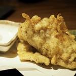 酒肴菜や 利一 - 穴子の赤しそ天ぷら¥650