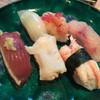 亀寿司 - 料理写真:お昼の3500円の握り前半の6貫/鰹、バイ貝、カニ、赤いか、甘海老、黒ムツ