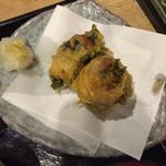 魚沼亭 - 料理写真:鯵梅しそ天    天汁付き♫
