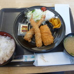 菊一商店 - ミックスフライ定食500円