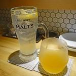 桜肉寿司と飛騨牛もつ鍋 TATE-GAMI - やたがらす 檸檬 600円(右)