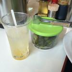 53562879 - 胡瓜の漬け物と、配膳後に戴いたゆず茶