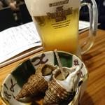 海鮮料理 海おやじ - 突き出し&生ビール