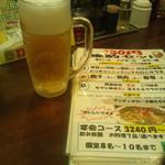 辰巳家 - ビールとメニュー(2016年7月)