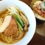 麺屋龍壽 - 芳醇中華そば醤油豚チャーシュー丼セット 1050円
