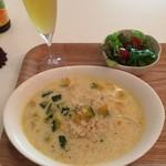 自然食カフェ すぴか - かぼちゃの豆乳リゾット(ミニサラダ付) + 自然醗酵ビール