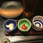 日本酒スローフード方舟 - お通しのお酒と おつまみ