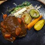 53645935 - ハンバーグ、焼き野菜