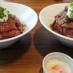キングステーキ - マウンテンローストビーフ丼☆☆ 左:レギュラー 右:Lサイズ 山が違う~!