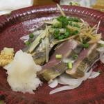居酒屋 ごいち - 金華トロ鰹の藁焼き~塩タタキ~(ハーフ)