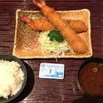 まるは食堂 - エビフライ定食 税込1980円