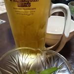 日本橋焼餃子 - 晩酌セットのビールと枝豆