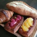 53737131 - めんたいフランスパン・クロワッサン・甘夏&木苺デニッシュ