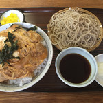 伊勢久 - 開化丼(大盛り)と小そば(もり)(850円)